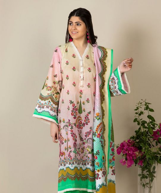 Zellbury Sea Pink Lawn Suit Lawn Collection 2021