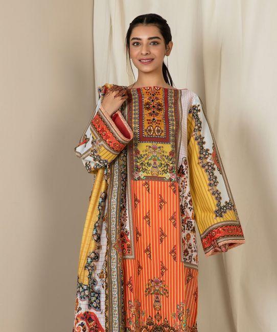 Zellbury Coral Orange C Eid Collection