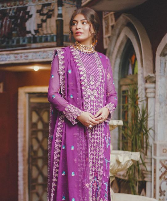 Zellbury Mulberry Purple Eid Collection